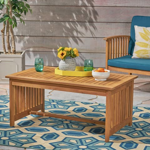 Carolina Outdoor Acacia Wood Coffee Table by Christopher Knight Home