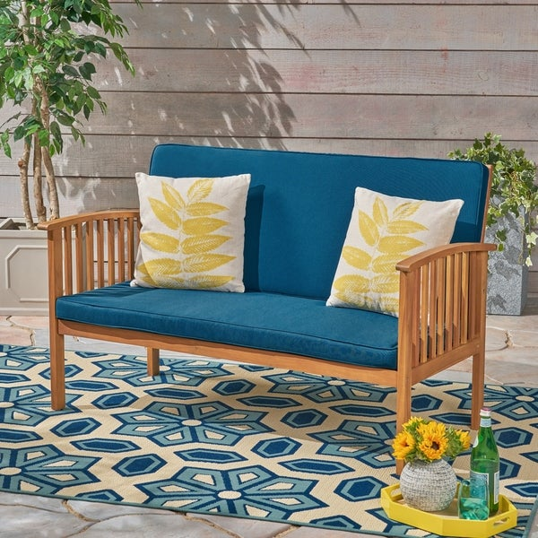 Carolina Outdoor Acacia Wood Loveseat by Christopher Knight Home. Opens flyout.