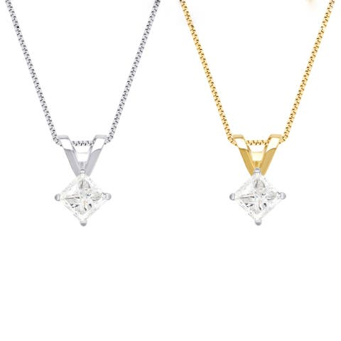 Divina 14KT White and Yellow Gold 3/4ct TDW Diamond Solitaire Pendant