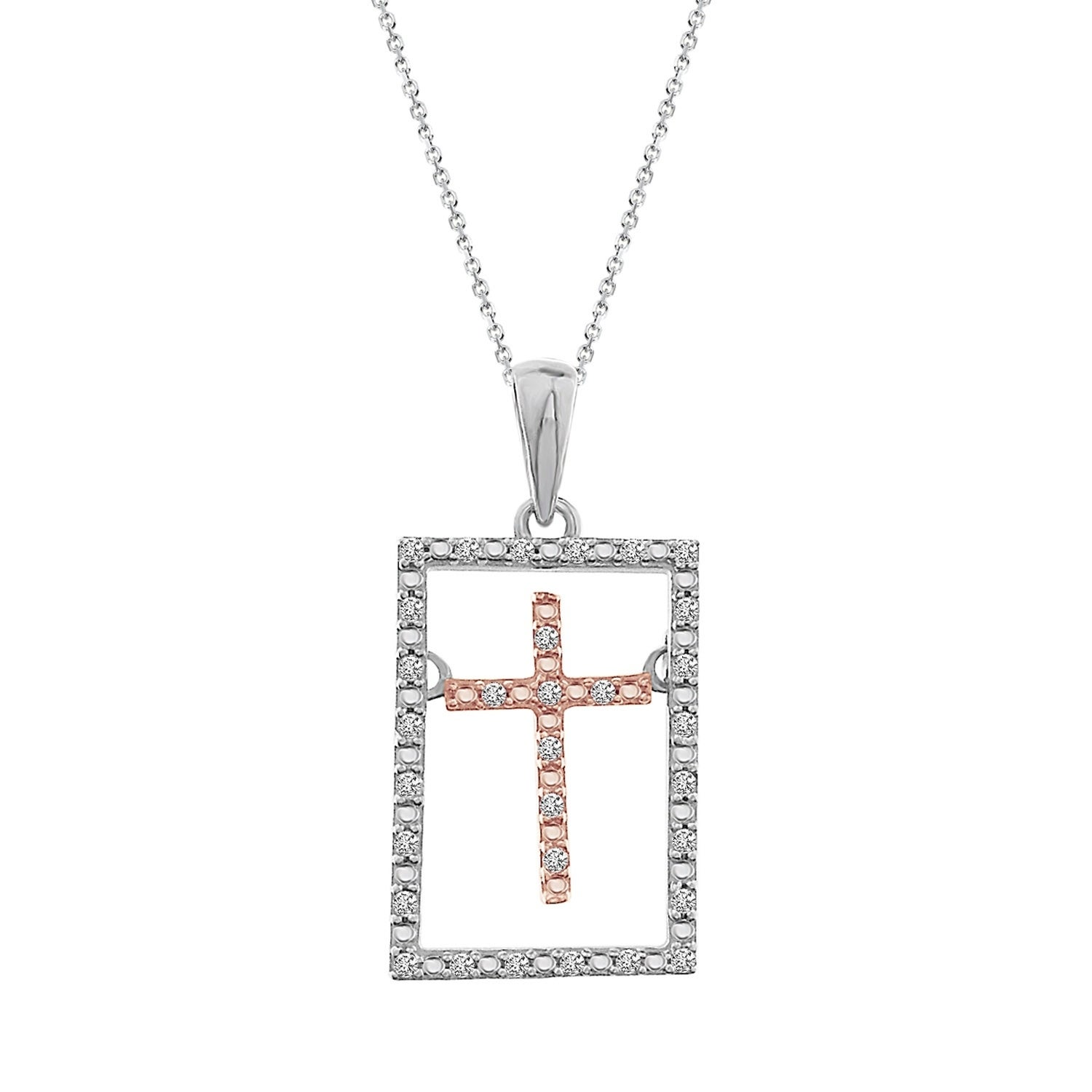 ed48d4fd528bb Details about 1/10 cttw Round White Diamond Ladies Cross Pendant w/18