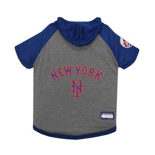 Pets First MLB New York Mets Sports Team Logo Hoody Dog Tee - Medium