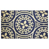 Jean Pierre Cut and Loop Mimosa 28 x 48 in. Textured Decorative Accent Rug, Navy/Berber - 2'3 x 4'