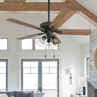"""Prominence Home Inland Seas Farmhouse 52"""" Aged Bronze LED Ceiling Fan, Cage Industrial 3-Light, 3 Speed Remote"""
