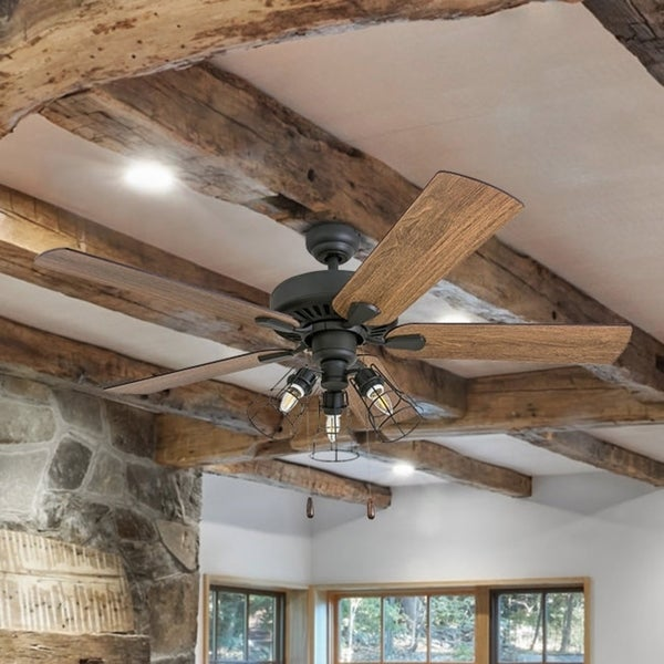 Shop Prominence Home Inland Seas Farmhouse 52 Quot Aged Bronze Led Ceiling Fan Cage Industrial 3