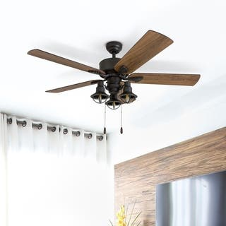 "Prominence Home Sivan Farmhouse 52"" Aged Bronze LED Ceiling Fan, Lantern Light, Barnwood Blades, 3 Speed Remote"