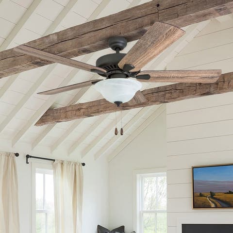 The Gray Barn Little Hat Farmhouse 52-inch Aged Bronze LED Ceiling Fan in Bowl Light in Barnwood Blades