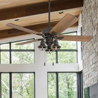 The Gray Barn Stormy Grain Farmhouse 52-inch Aged Bronze LED Ceiling Fan