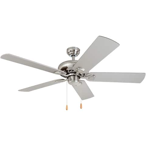 Porch & Den Duchilly Chilled Gray/Chocolate Maple Blades, Brushed Nickel 52-inch Ceiling Fan