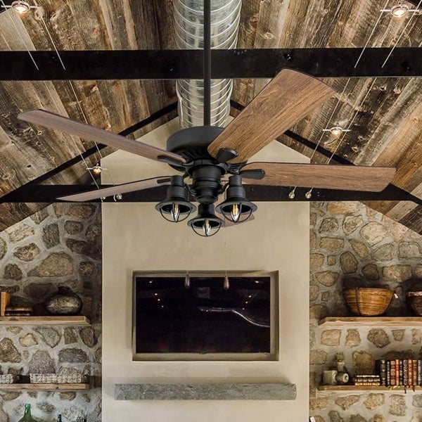 Shop The Gray Barn Stormy Grain Aged Bronze Led Ceiling Fan Free Shipping Today Overstock
