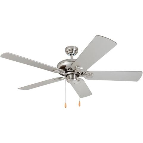 Porch & Den Duchilly Brushed Nickel Ceiling Fan with Reversible Blades