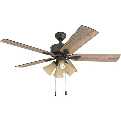 The Gray Barn Rodenkirchen Farmhouse 52-inch Aged Bronze Ceiling Fan with Light