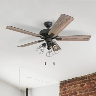 """Prominence Home Inland Seas Farmhouse 52"""" Aged Bronze LED Ceiling Fan, Cage Industrial 3-Light"""