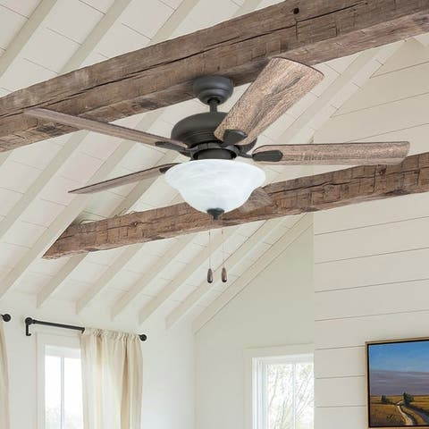 The Gray Barn Esbern Snare Traditional 42-inch Aged Bronze LED Ceiling Fan in Bowl Light in Barnwood Blades