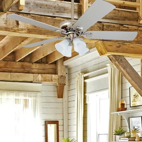 Porch & Den Elkton Brushed Nickel 52-inch Ceiling Fan with Light