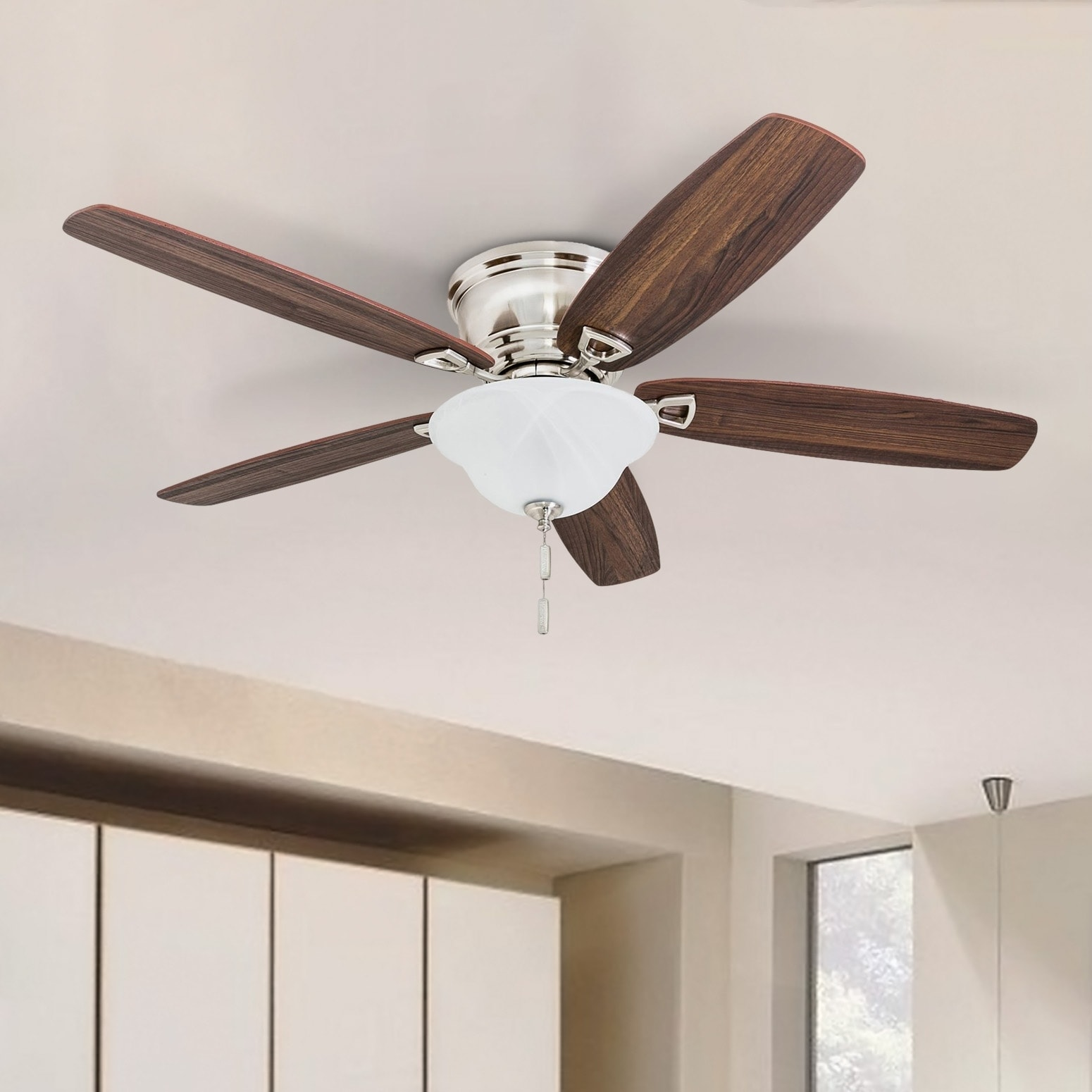 Heating Cooling Air Low Profile Ceiling Fan 52 In Led Contemporary Brushed Nickel Flush Mount Dome Home Furniture Diy Breadcrumbs Ie
