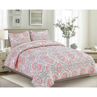 Brown & Grey Tiffany Coral 3-Piece Quilt Set