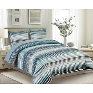 Strata Blue 3-Piece Quilt Set (3 options available)
