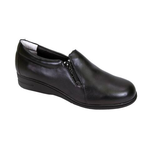 24 HOUR COMFORT Bobbi Women Extra Wide Width Slip on Shoes with Zipper