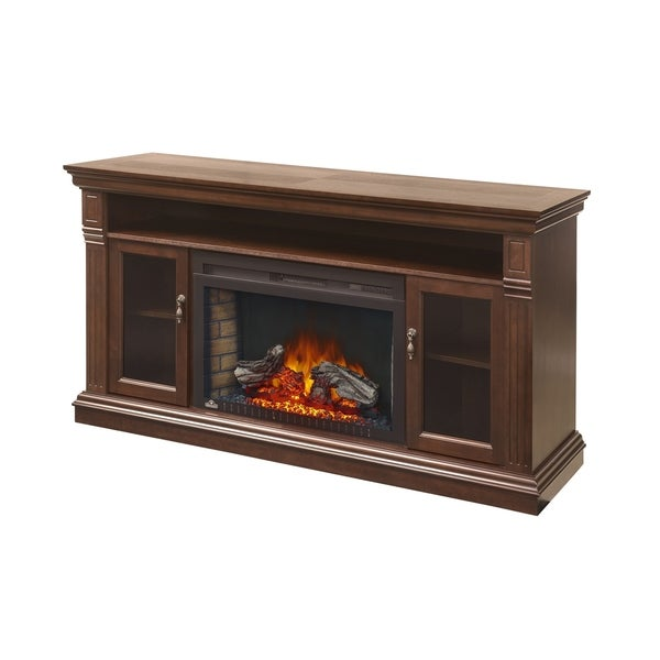 Shop Napoleon Canterbury Tv Stand With Electric Fireplace Glass