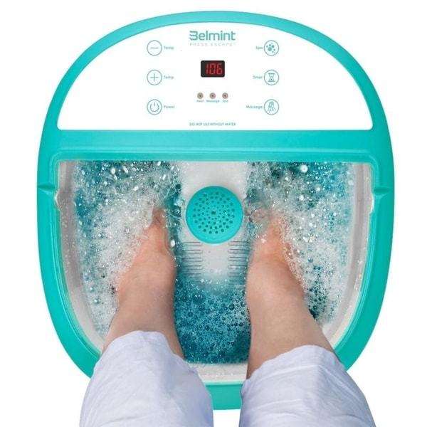 Foot Spa Massager w/ Heat Function O2 Bubbles & 6 Pressure Rollers