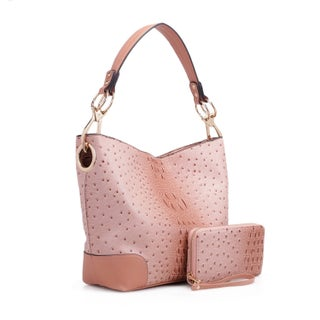 MKF Collection Wandy Soft Vegan Leather Hobo & Wallet by Mia K Farrow (Option: blush)