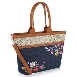 MKF Collection Tatianna Denim Tote Bag by Mia K Farrow (Option: Dark Blue)