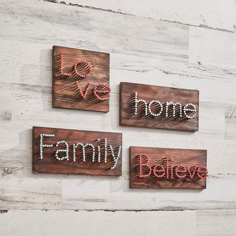 Believe with Red Letters and Brown Background Wall Decor - 10 x 2 x 5