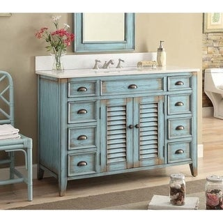 "46"" Benton Collection Abbeville Distressed Blue Bathroom Vanity"