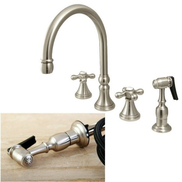 Brushed Nickel 4 Hole Cross Handles Kitchen Faucet And Sprayer