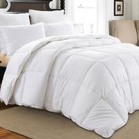 Downluxe Hypoallergenic 350 Thread Count 100% Cotton Shell Down Proof 600 Fill Power All Seasons Baffle Box White Down Comforter