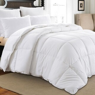 Downluxe Hypoallergenic 350 Thread Count 100% Cotton Shell Down Proof 600 Fill Power All Seasons Baffle Box White Down Comforter (3 options available)