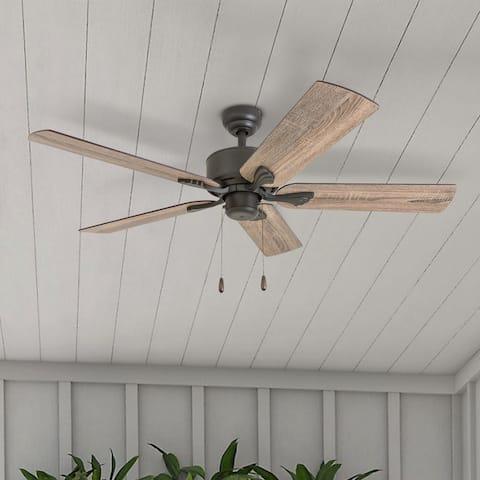 The Gray Barn Harkye Farmhouse 52-inch Aged Bronze Ceiling Fan in Barnwood/Tumbleweed Blades