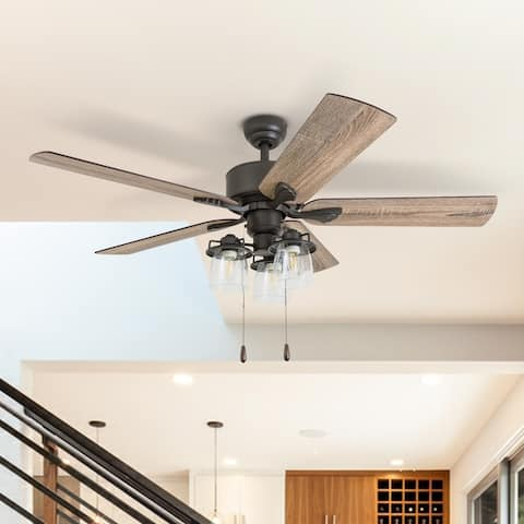 The Gray Barn Wildroot Farmhouse 52-inch Aged Bronze LED Ceiling Fan with Light