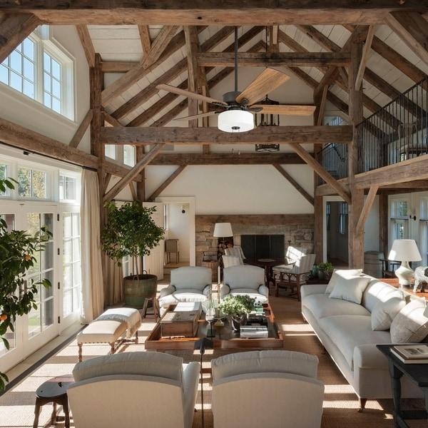 Shop Prominence Home Snowden Farmhouse 52 Quot Aged Bronze Led Ceiling Fan Linen Drum Light Free