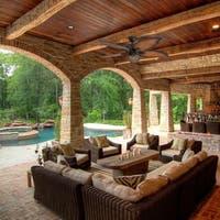 "Prominence Home Beauxregard Tropical 52"" Aged Bronze Ceiling Fan, Mocha Blades"