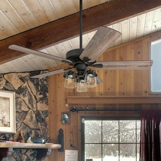 """Prominence Home Briarcrest Farmhouse 52"""" Aged Bronze LED Ceiling Fan with Light"""