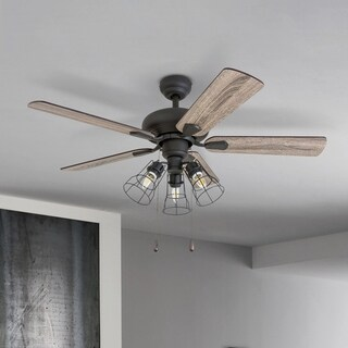 Prominence Home Madison County Industrial Aged Bronze Steel/Wool 42-inch Caged 3-light LED Ceiling Fan