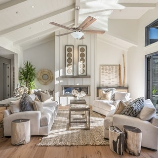 """Link to Prominence Home Elk Mountain Farmhouse 52"""" Brushed Nickel LED Ceiling Fan, Bowl Light, Barnwood Blades Similar Items in Ceiling Fans"""