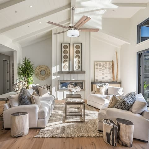 """Prominence Home Canyon Lakes Farmhouse 52"""" Brushed Nickel LED Ceiling Fan, Drum Light, Barnwood Blades"""