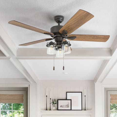 The Gray Barn Wildroot Farmhouse 52-inch Aged Bronze LED Ceiling Fan with Light in 3-speed Remote