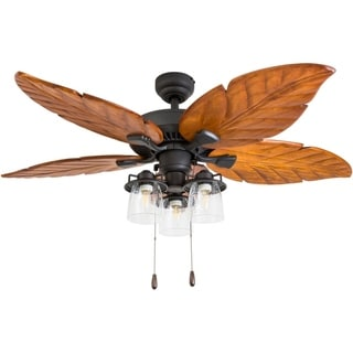 "Prominence Home Kings Crossing Tropical 52"" Aged Bronze Indoor LED Ceiling Fan, Hand Carved Blades"
