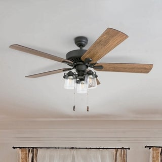 """Prominence Home Briarcrest Farmhouse 52"""" Aged Bronze LED Ceiling Fan with Light, 3 Speed Remote"""