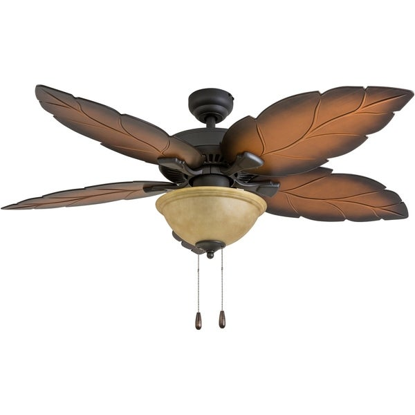 """Ceiling Fan Tropical Blades: Shop Prominence Home St. Bart's Tropical 52"""" Aged Bronze"""