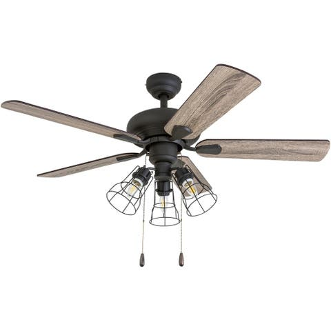 """Prominence Home Madison County Industrial 42"""" Aged Bronze LED Ceiling Fan, Cage Industrial 3-Light, 3 Speed Remote"""