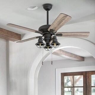 Prominence Home Piercy Coastal Aged Bronze LED Lantern Light Ceiling Fan