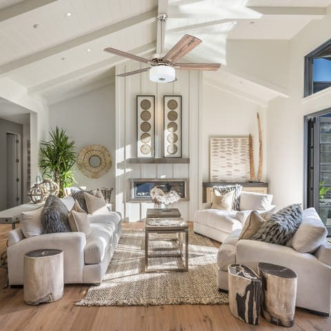"""Prominence Home Canyon Lakes Farmhouse 52"""" Brushed Nickel LED Ceiling Fan, Drum Light, Barnwood Blades, 3 Speed Remote"""