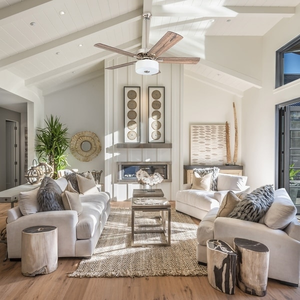 Shop Prominence Home Canyon Lakes Farmhouse 52 Quot Brushed Nickel Led Ceiling Fan Drum Light