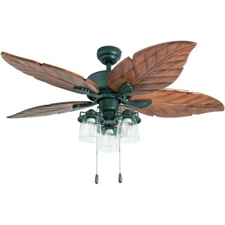 Prominence Home Caspian Sea Tropical Aged Bronze LED 52-inch Ceiling Fan with Light, Hand Carved Blades, 3 Speed Remote