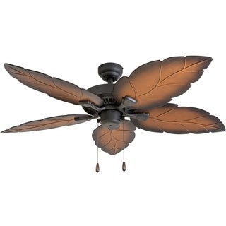 """Prominence Home Falklands Tropical 52"""" Aged Bronze Damp Rated Ceiling Fan, Mocha Blades, Bluetooth Capable Remote"""