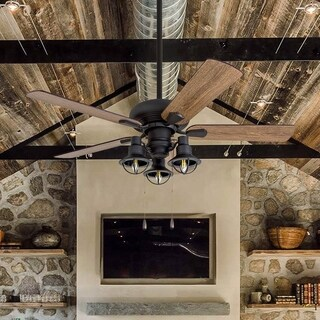 Piercy Coastal Aged Bronze 42-inch Bluetooth 3-light Lantern-style LED Ceiling Fan with Brown Barnwood Blades and Remote Control